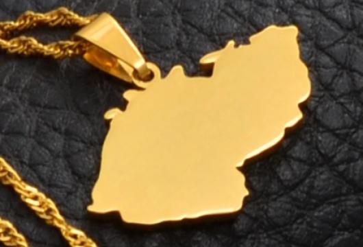 Czech Republic Map: Women´s Pendant Necklace - GOLD