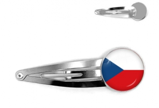 Czech Republic National Flag: Cabochon Hair Pin