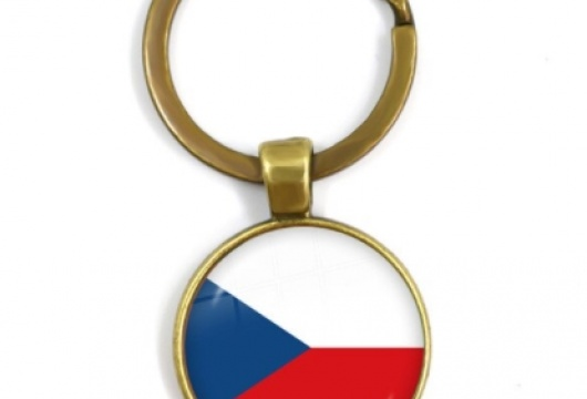 Czech Republic National Flag: Cabochon Key Chain Ring - BRONZE