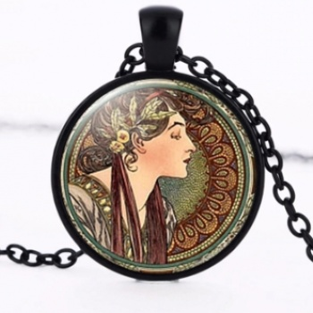 Art Nouveau Jewellery by Alfons Mucha: Women´s Necklace - 10 in BLACK