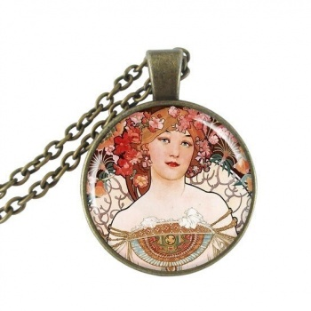 Art Nouveau Jewellery by Alfons Mucha: Women´s Necklace - 12 in COPPER