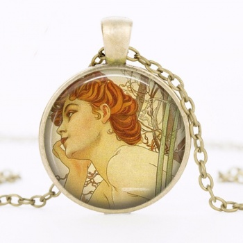 Art Nouveau Jewellery by Alfons Mucha: Women´s Necklace - 2 in COPPER